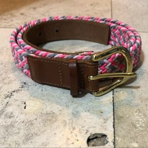 J Crew pink braided belt NWT M